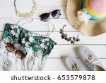 woman clothes with accessories... | Shutterstock . vector #653579878