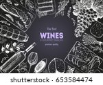 wines and gourmet snacks frame... | Shutterstock .eps vector #653584474