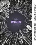 wines and gourmet snacks frame... | Shutterstock .eps vector #653584480