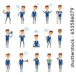 set of businessman characters... | Shutterstock .eps vector #653586079