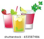 two red cocktails stand with... | Shutterstock . vector #653587486