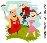 barbecue party. man in a chef... | Shutterstock .eps vector #653587990