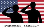 silhouette american soldiers... | Shutterstock .eps vector #653588674