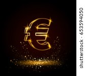 gold euro money symbol.... | Shutterstock .eps vector #653594050