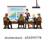office desk for team planning... | Shutterstock .eps vector #653595778