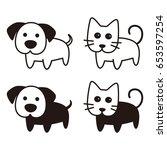 cute dog and cat cartoon flat... | Shutterstock .eps vector #653597254