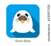 cute seal's baby flat icon...   Shutterstock .eps vector #653597320