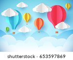 air balloons in the sky.... | Shutterstock .eps vector #653597869