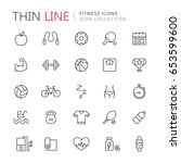 collection of fitness thin line ... | Shutterstock .eps vector #653599600