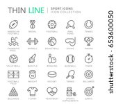 collection of sport thin line... | Shutterstock .eps vector #653600050