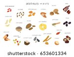 dried fruits and nuts food... | Shutterstock .eps vector #653601334