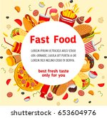 fast food poster or menu cover... | Shutterstock .eps vector #653604976