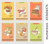 healthy breakfast hand drawn... | Shutterstock .eps vector #653606476