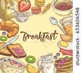 healthy breakfast hand drawn... | Shutterstock .eps vector #653606548