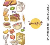 healthy breakfast hand drawn... | Shutterstock .eps vector #653606560