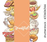 healthy breakfast hand drawn... | Shutterstock .eps vector #653606566