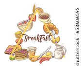 healthy breakfast hand drawn... | Shutterstock .eps vector #653606593