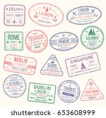 passport stamp isolated set.... | Shutterstock .eps vector #653608999