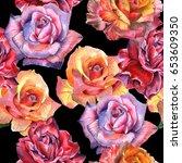 wildflower rose flower pattern... | Shutterstock . vector #653609350