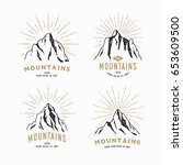 hand drawn mountains. set of... | Shutterstock .eps vector #653609500