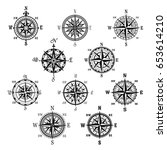 compass isolated symbol set.... | Shutterstock .eps vector #653614210