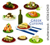 greek cuisine healthy food... | Shutterstock .eps vector #653614243