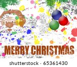 Merry Christmas grunge background with Santa and globes - stock vector