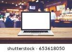 modern computer laptop with... | Shutterstock . vector #653618050