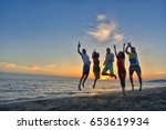 group of happy young people is... | Shutterstock . vector #653619934