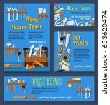 house repair work tools and diy ... | Shutterstock .eps vector #653620474