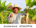 middle aged farmer and his farm | Shutterstock . vector #653620936