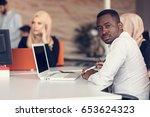 multiracial contemporary... | Shutterstock . vector #653624323