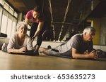 senior couple workout in...   Shutterstock . vector #653635273