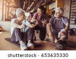 senior couple in rehabilitation ... | Shutterstock . vector #653635330