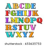 english alphabet with colorful... | Shutterstock .eps vector #653635753