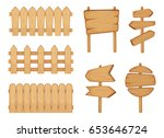 fences of garden and signs with ... | Shutterstock .eps vector #653646724