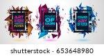futuristic frame art design... | Shutterstock .eps vector #653648980