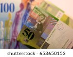 close up swiss francs currency... | Shutterstock . vector #653650153