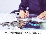business woman hand... | Shutterstock . vector #653650270