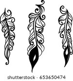 set of three decorative... | Shutterstock .eps vector #653650474