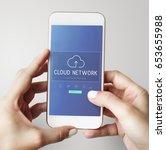 cloud network data backup... | Shutterstock . vector #653655988