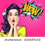 Stock photo pop art woman with wow face holding hands near her cheeks advertising poster of sale or discount 653659153