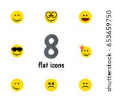 flat emoji set of pleasant ... | Shutterstock .eps vector #653659750