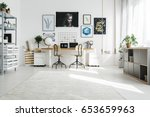 spacious white home office...   Shutterstock . vector #653659963