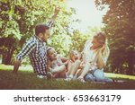 happy family sitting on grass... | Shutterstock . vector #653663179