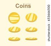 set of golden coins in... | Shutterstock .eps vector #653666500