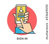 sign in icon. hand holding...   Shutterstock .eps vector #653669050