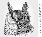 abstract owl illustration ... | Shutterstock .eps vector #653669518