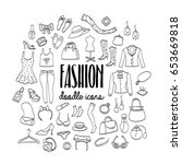 big set of fashion hand drawn... | Shutterstock .eps vector #653669818