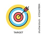 target icon. target and arrow... | Shutterstock .eps vector #653669884